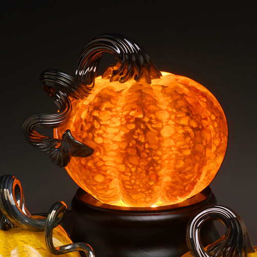 "Blown / Solid Glass Pumpkin Paperweight Series: Red Splash Pumpkin, Medium 4"", with choice of color optic stem"