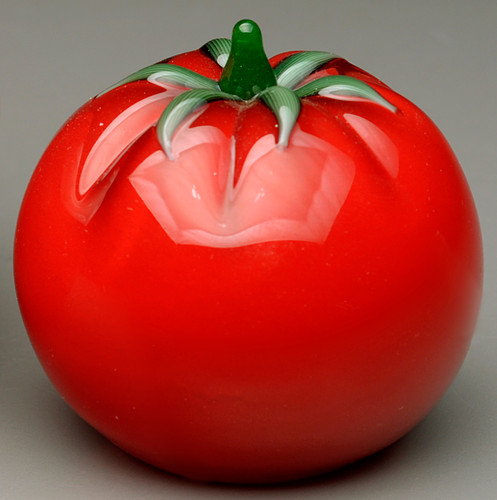 "glass fruit paperweight sculpture, all glass ""cherry"" tomato, 1-2"""