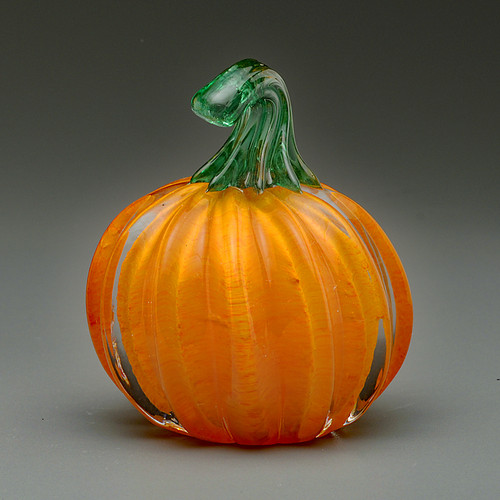 """small orange glass pumpkin, 2"""", handmade vermont glass pumpkin"""