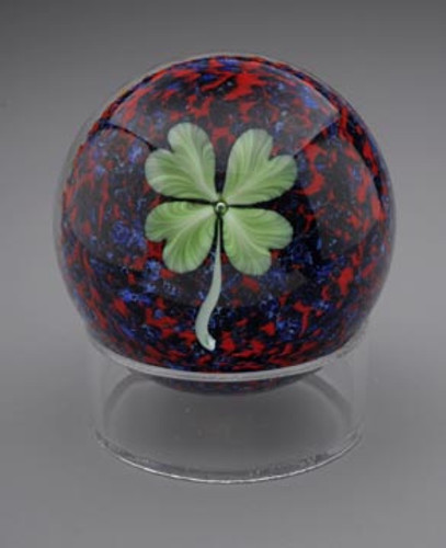 Good Luck Paperweight, Red/Blue chip background