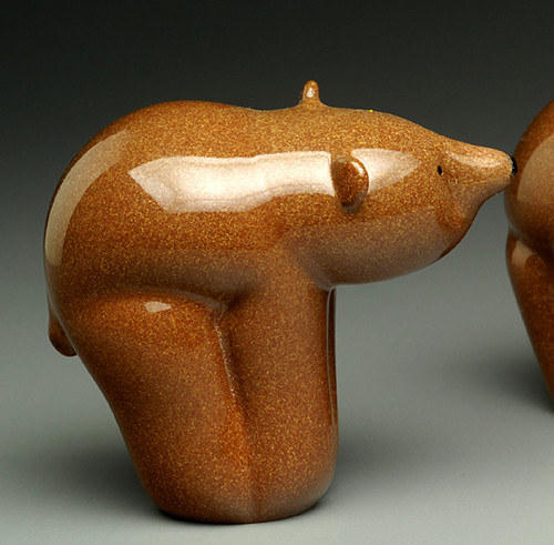 "Glass Bear animal sculpture, kodiak brown grizzly bear cub, 3"""