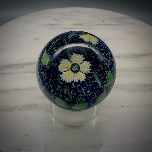 Floral glass paperweight using California Technique torchwork floral pattern and COE 104 glass made in Bellows Falls, Vermont by glassblower Chris Sherwin using renewable resources.