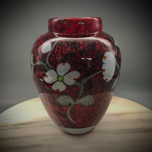 dogwood vase, alternate  front view, handmade, glassblowing in Vermont by Glass Artisan Chris Sherwin