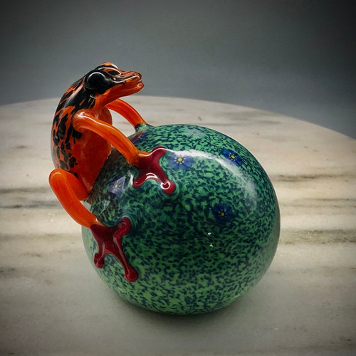 """Glass Frog, Costa Rica Frog, hand-sculpted glass frog paperweight, bright orange frog over muslin green paperweight with spaced millefiori, 3"""""""