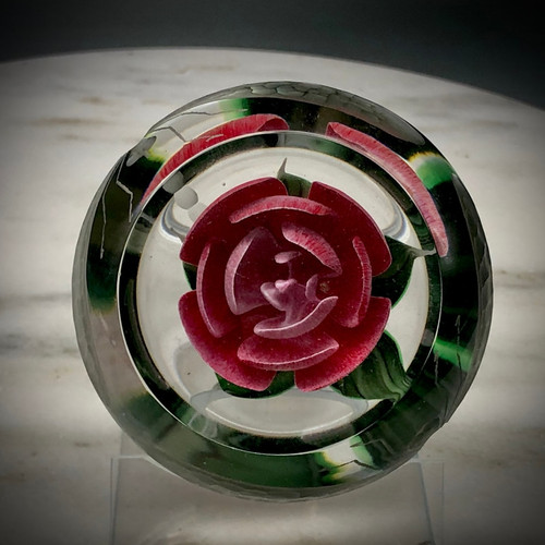 Gorgeous Deep Pink Crimp Rose, with signature heart shape center bud, with top facet and dual dragonfly etching on the side surface of the weight by master cutter James Poore.  Handmade in Bellows Falls, VT by glass artist Chris Sherwin