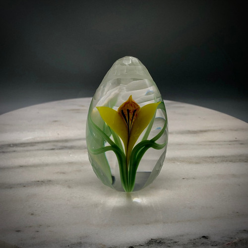 Yellow Crocus Egg,  with slender torchwork green variegated leaves made by glass artisan Chris Sherwin in his glassblowing studio in Bellows Falls, Vermont; this weight showcases a batutto cutting by James Poore of Cape Cod, MA