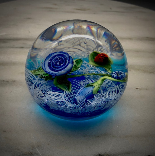 """small Lampworking prototype, featuring several small glass components on blue/ white latticino ground, by glass artisan Chris Sherwin. Made in Vermont, 2"""""""