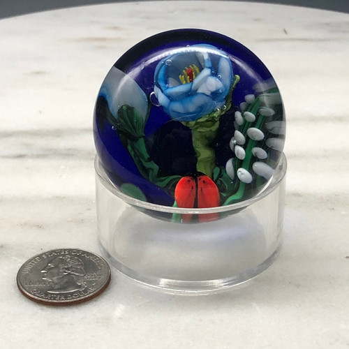 """small Lampworking prototype, featuring several small glass components on blue ground, by glass artisan Chris Sherwin. Made in Vermont, 2"""""""