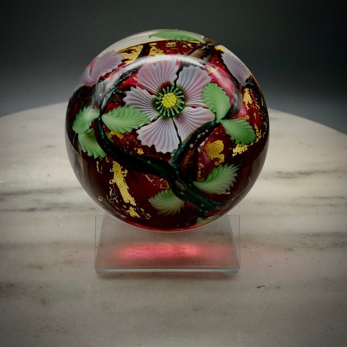 Pink Dogwood blossom paperweight, hand sculpted glass torchwork paperweight with Ruby pink glass and gold foil, by Vermont glass artist Chris Sherwin
