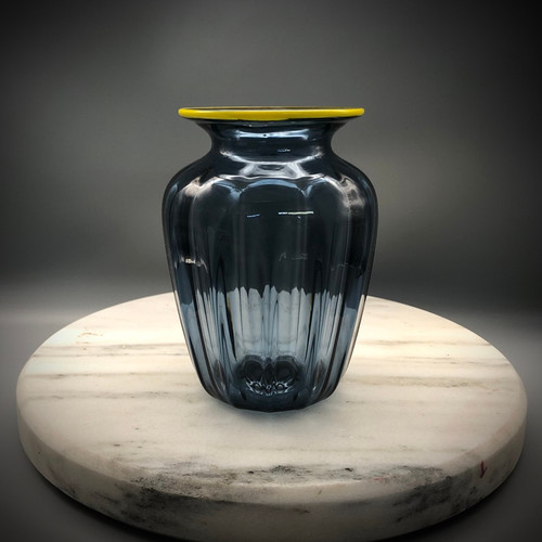 """""""Grayple"""" optic vase.  small glass vase; perfect for small floral bouquets, with yellow lip wrap accent. approx 6"""""""