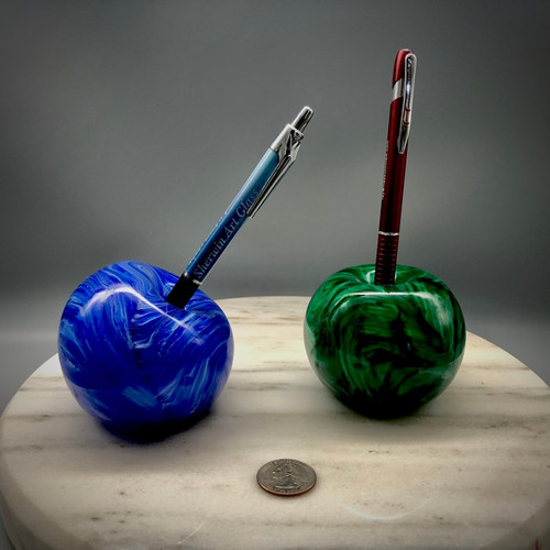 "Sherwin Art Glass all glass ""Stone"" Penholders.  Shown here in ""Sapphire"" and ""Malachite"" color options.  Also available in Turquoise.... approximately 3"" round with top or side hole for pen/pencil/stylus.  Perfect for gifts for Teachers, Office/Home workers, Students, etc.  A stylish way to display any pen....by glass artisan Chris Sherwin"