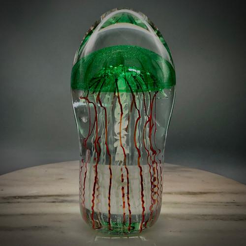 """Emerald Green transparent Bell Jellyfish sculpture, solid glass, glass paperweight, 6"""" tall"""