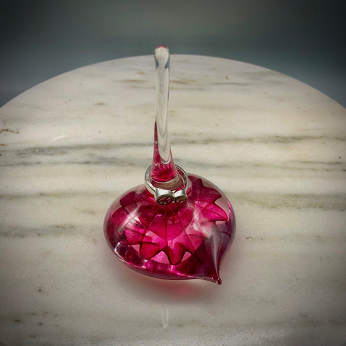 glass Ringholder, Optic Star Heart shaped ringholder ~ Dark Ruby Transparent, great for holding your favorite rings while you cook, eat, sleep..... additional colors upon request!