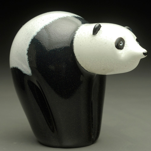 Glass Bear animal sculpture, Panda Bear, standing 4""