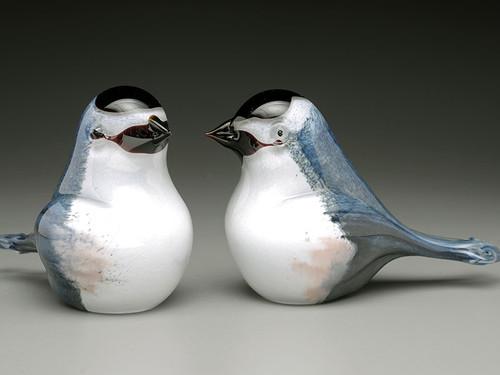 Chickadee, hand sculpted glass bird made in Bellows Falls Vermont by glass artisan Chris Sherwin