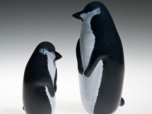 "Penguin, small Glass bird figurine, shown on left, 3"" tall"