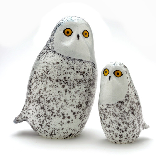 Majestic Snowy Owls, all Glass, surface-decorated & hand-sculpted, made in Vermont.