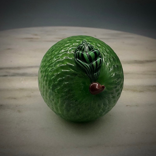 Lime, glass fruit, glass paperweight, glass lime fruit sculpture by Chris Sherwin, Made in Vermont,