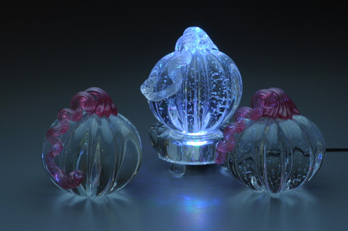 Blown / Solid Glass Pumpkin Paperweight Series:  Clear Pumpkin, solid handmade glass, 3-4""