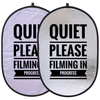 """""""Quiet Please: Filming in Progress"""" Double-Sided 24""""x36"""" Collapsible Sign"""