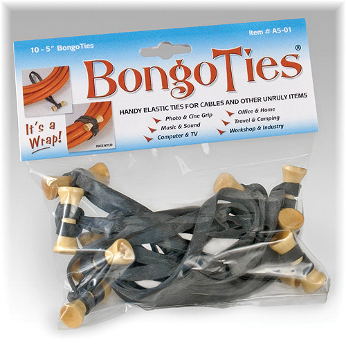 "Bongo Ties Standard 5"" Elastic Cable Ties (10 Pack) - Black"