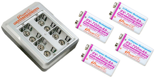 iPower FC-9VX44 9V Battery 4-Bay Charger W/ 4x 700mah Batteries