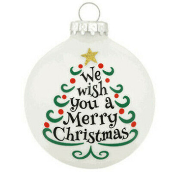 We Wish You A Merry Christmas With Tree Glass Ornament