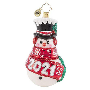 Christopher Radko Hand-Crafted European Glass Christmas Decorative Ornament, Wrapped in Cheer 2021