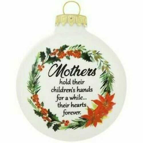 Mothers Hold Their Children's Hand Glass Ornament