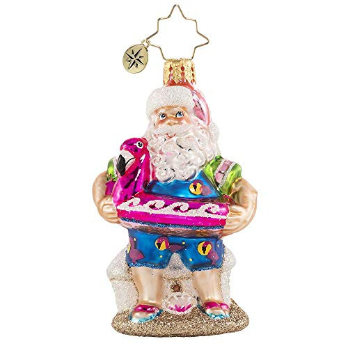 Christopher Radko Hand-Crafted European Glass Christmas Decorative Ornament, Out of Office Santa Gem