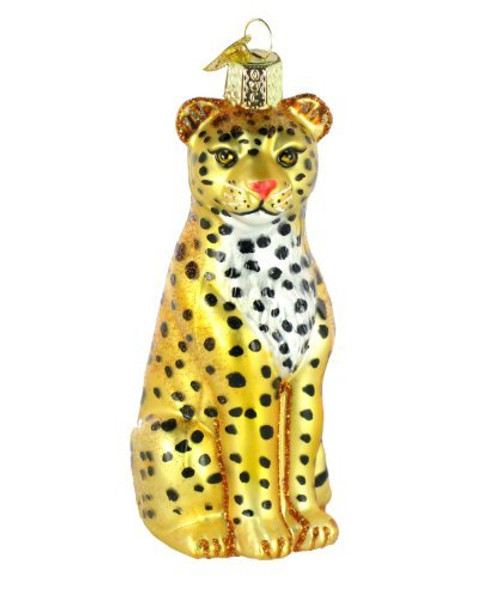 Old World Christmas Wildlife Animals Glass Blown Ornaments for Christmas Tree Leopard
