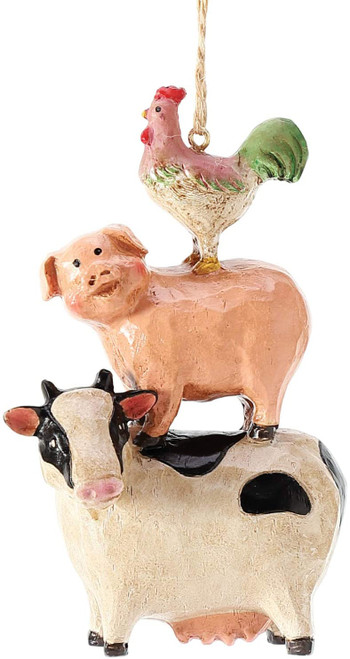 Department 56 Country Living Stacked Animals Hanging Ornament, 4.25 Inch, Multicolor