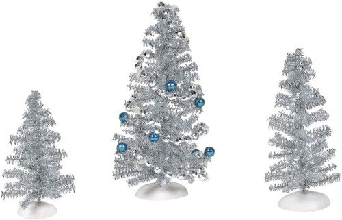 Department 56 Village Collection Accessories Blue Christmas Tinsel Trees Figurine Set, Various Sizes, Multicolor
