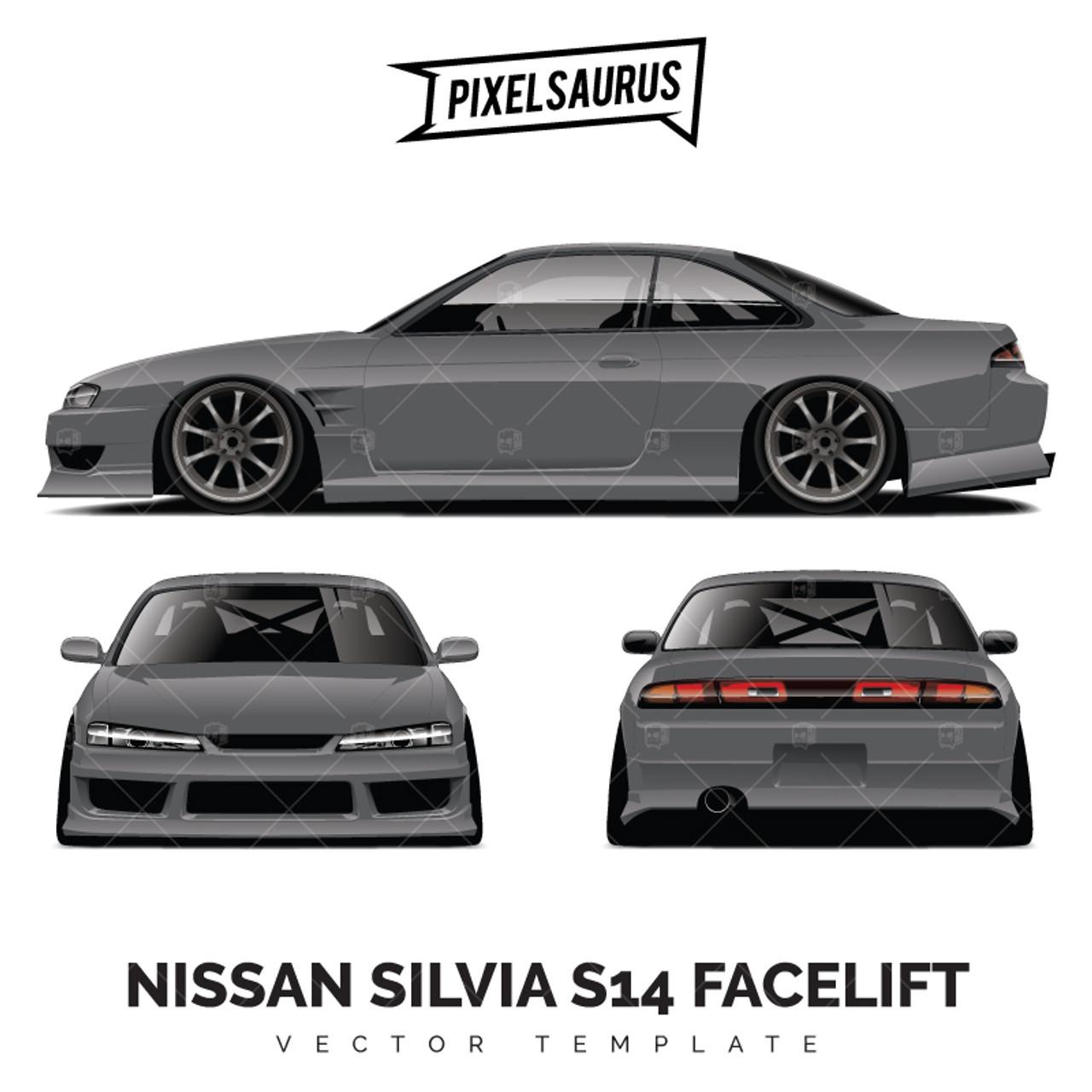 nissan silvia s14 facelift drift car vector template - pixelsaurus  pixelsaurus