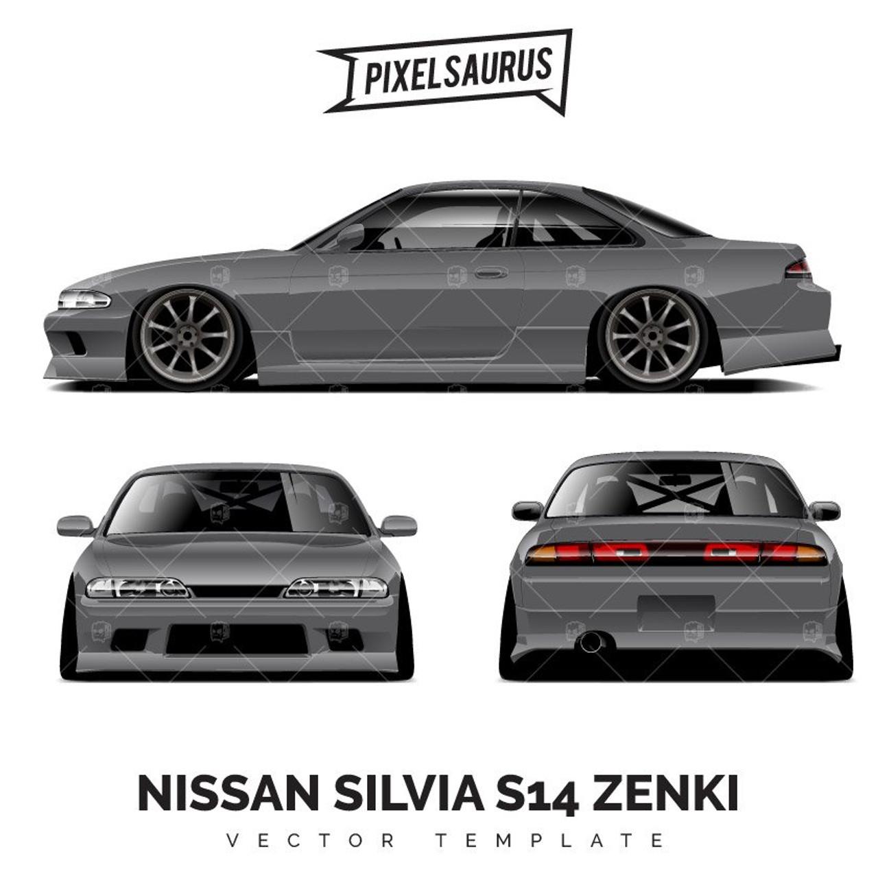 Nissan Silvia S14 Zenki Drift Car Vector Template Pixelsaurus
