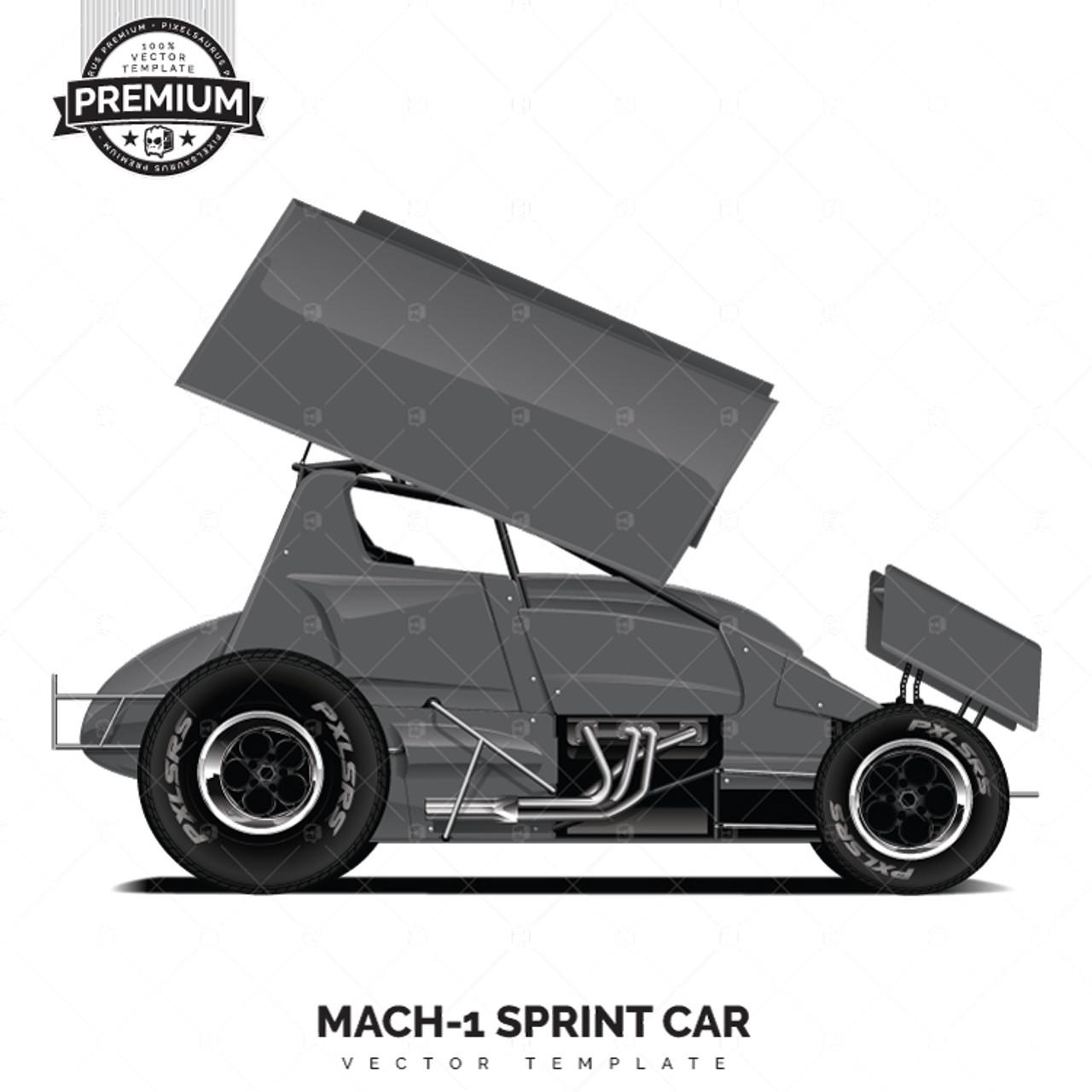 Mach 1 Sprintcar Premium Vector Template L R