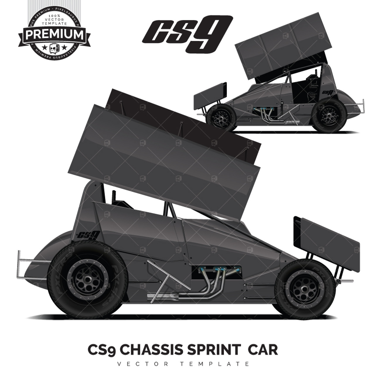 Cs9 Chassis Sprint Car Premium Vector Template Pixelsaurus