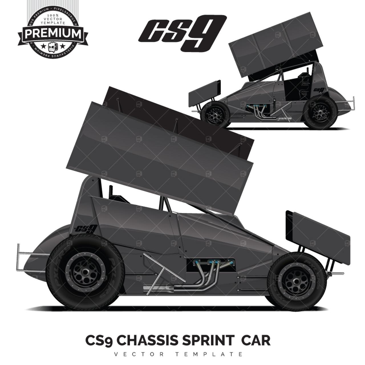 Cs9 Chassis Sprint Car Premium Vector Template
