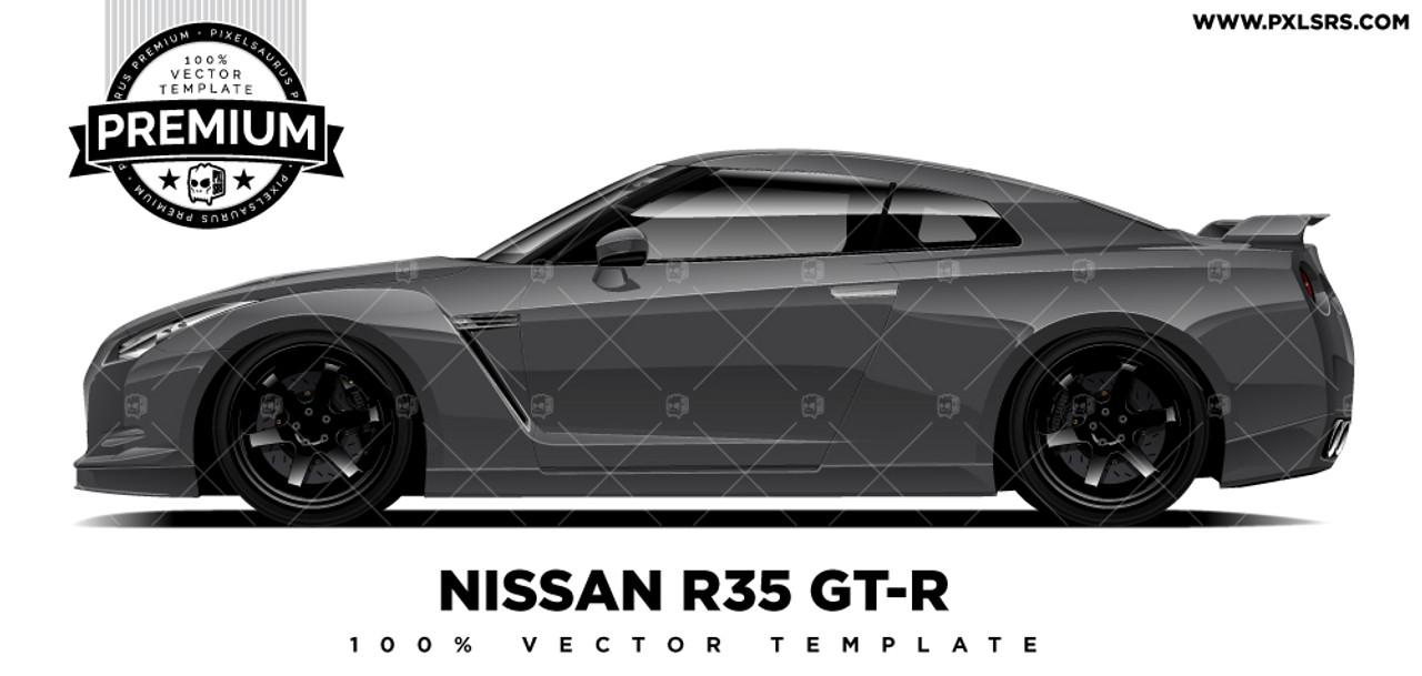 Nissan R35 Gt R Premium Vector Template Pixelsaurus
