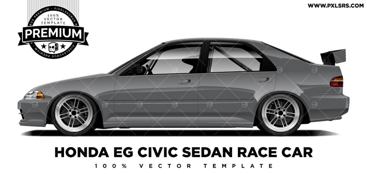 Honda Civic Eg Sedan Race Car Premium Vector Template Pixelsaurus