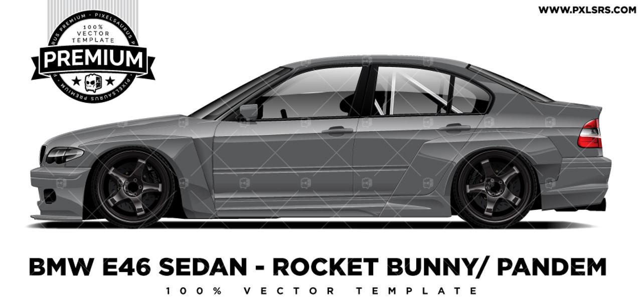 Bmw E46 Sedan Pandem Rocket Bunny Premium Vector Template Pixelsaurus