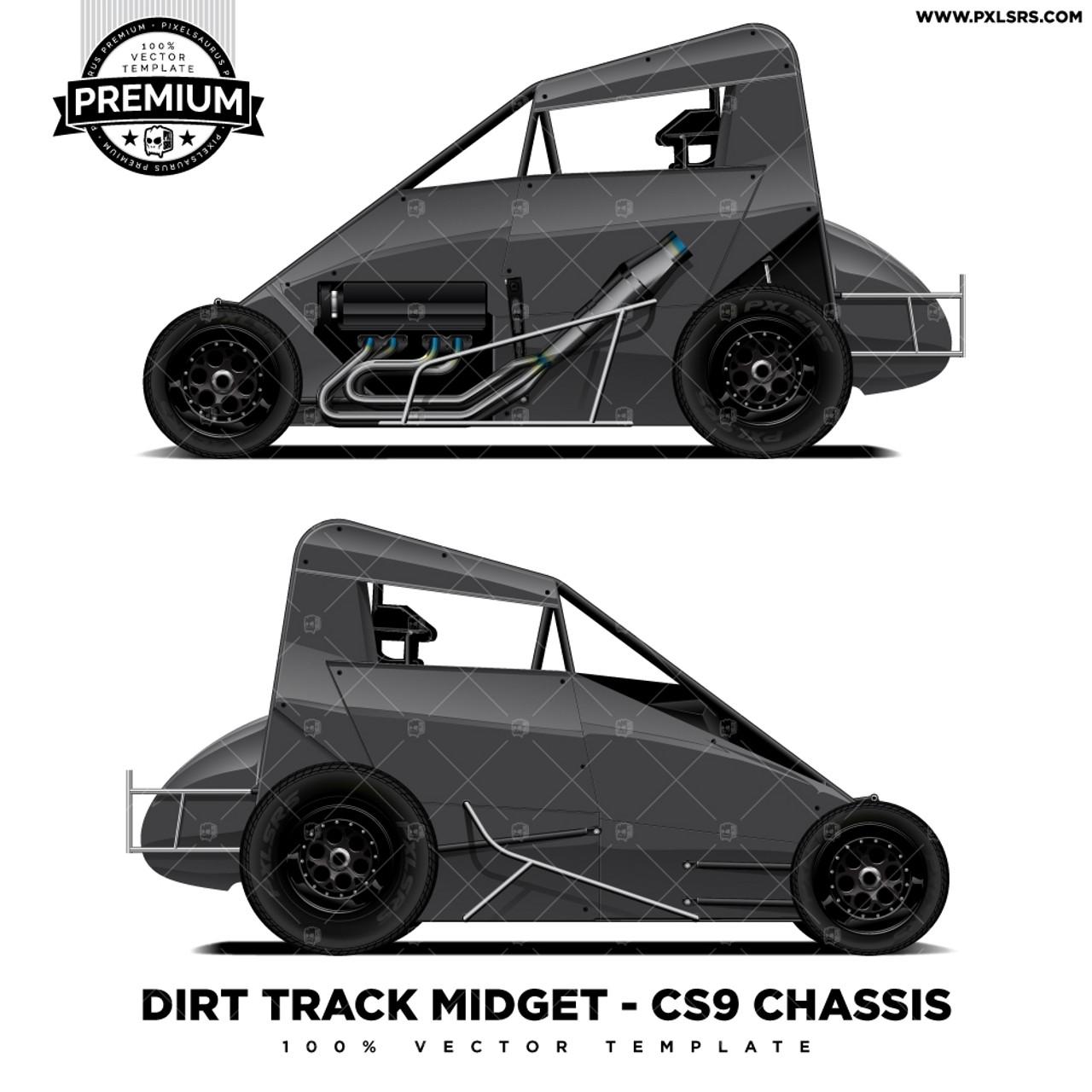 Dirt Track Midget CS9 Chassis 'Premium' Vector Template