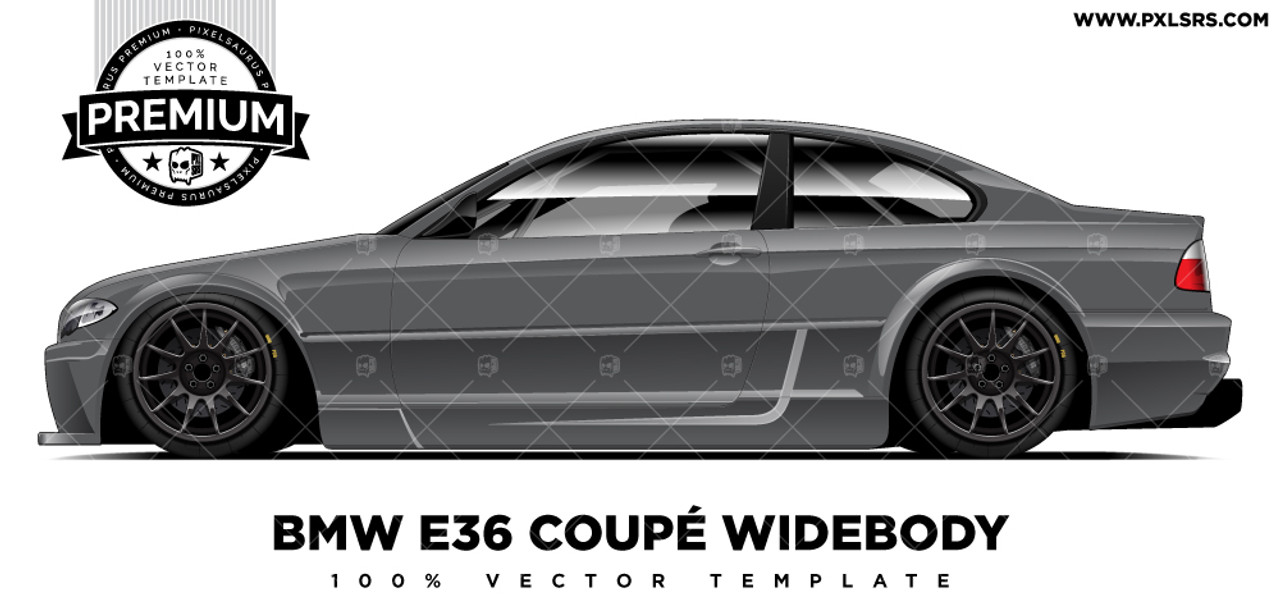 Bmw E46 Coupe Widebody Premium Vector Template Pixelsaurus