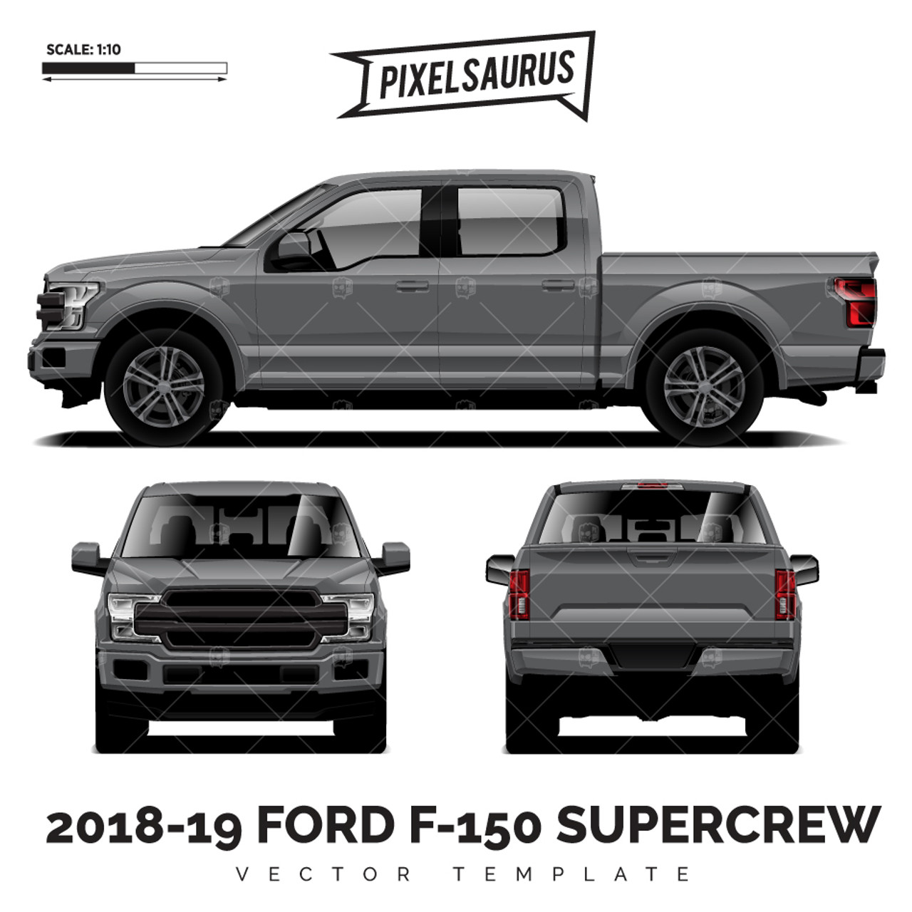 2015-2019 Ford F-150 SuperCrew® vector Template