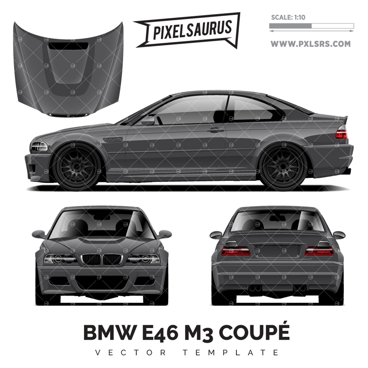 Bmw E46 M3 Coupe Vector Template