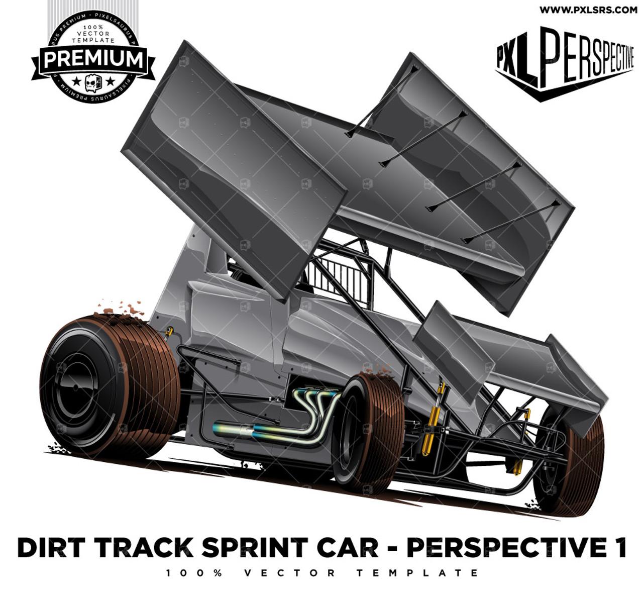 Dirt Track Sprint Car Premium Perspective 100 Vector Template