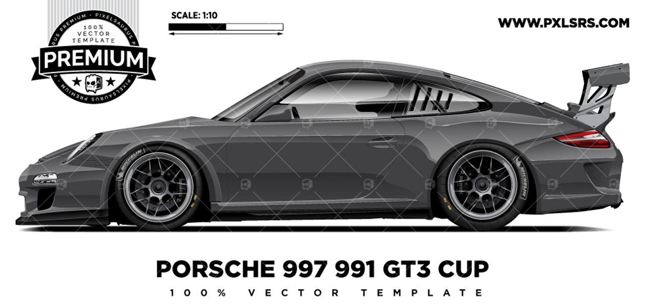 Porsche 997 Gt3 Cup Premium Side Vector Template