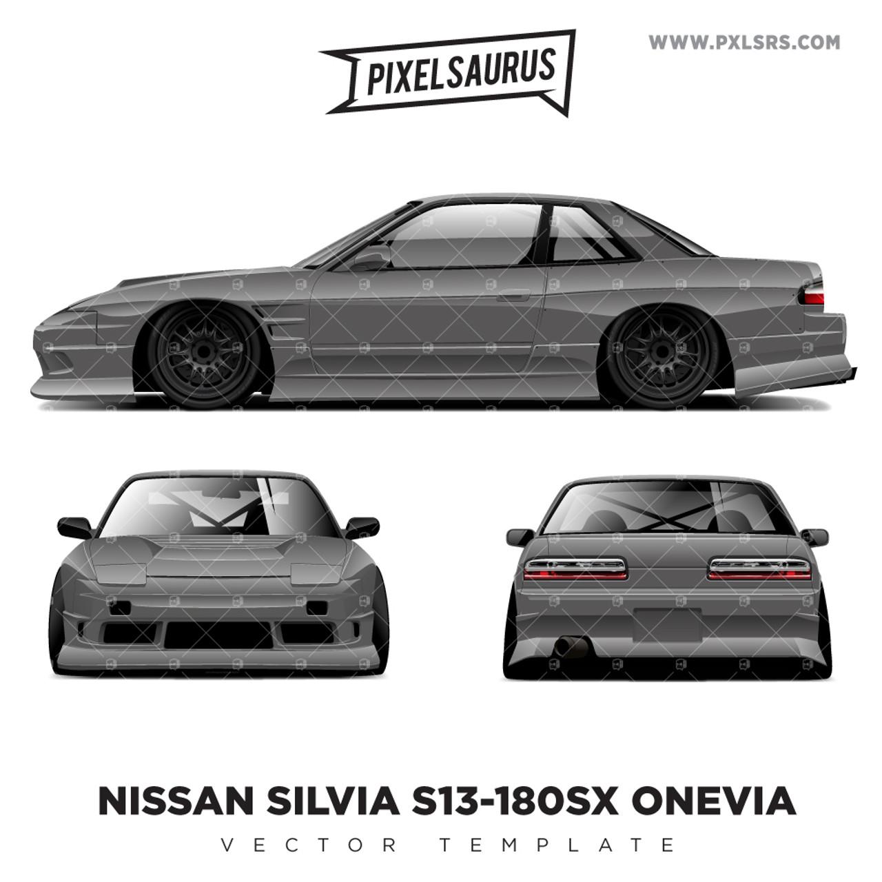 Nissan S13 180sx Onevia Vector Template Pixelsaurus