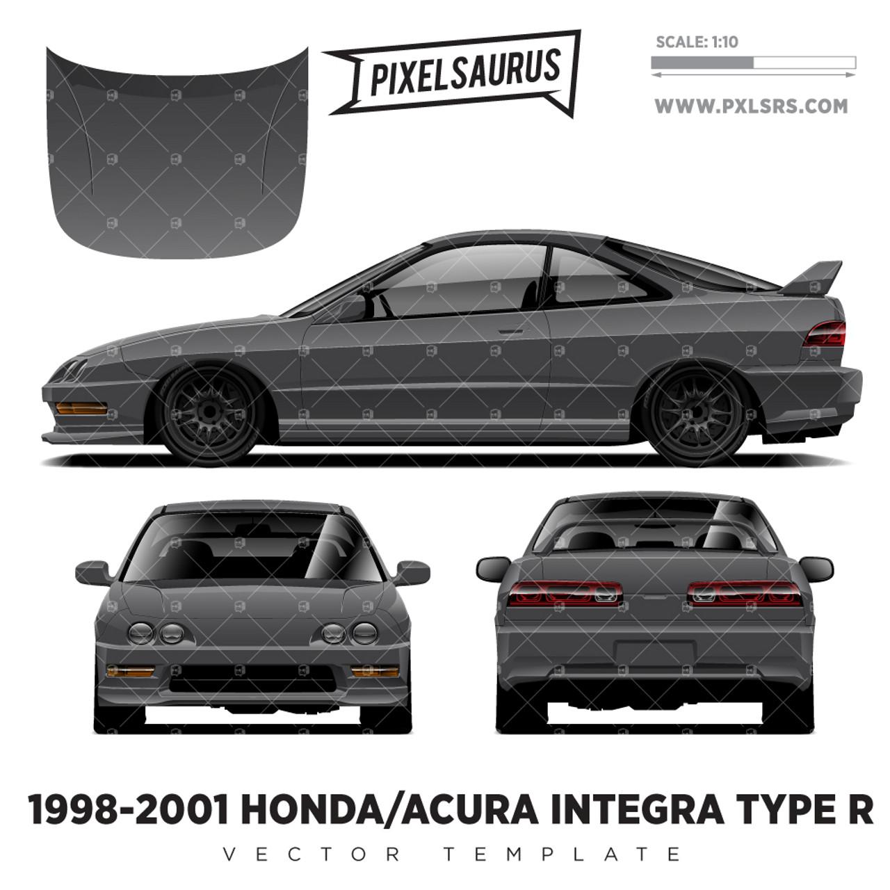 1998 2001 Honda Acura Integra Type R Vector Template Pixelsaurus