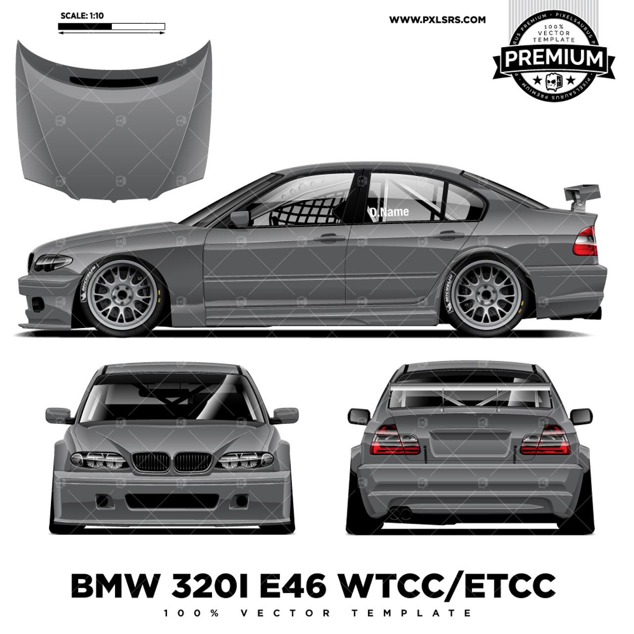 Bmw E46 320i Btcc Etcc Touring Car Full Premium Vector Template Pixelsaurus